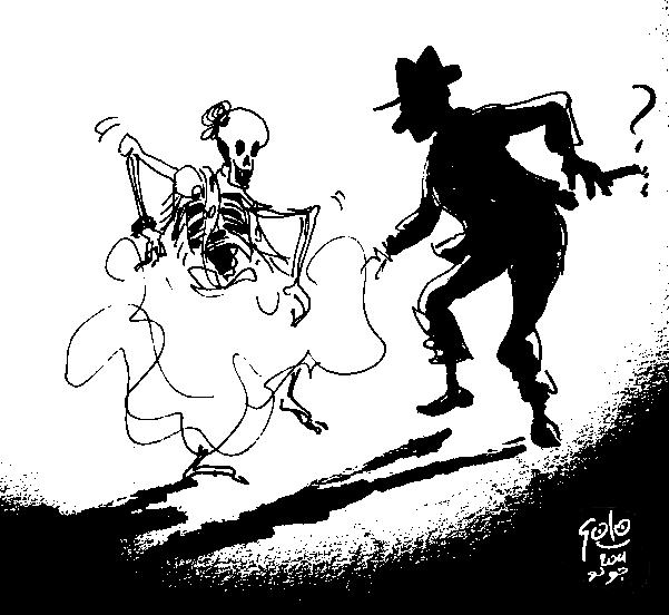Zeichnung von Golo (Grafik: © Golo, Avant-Verlag): B. Traven tanzt mit einer Zigarre in der Hand mit einem weiblichen Skelett