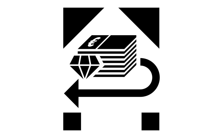 """Logo des Bündnisses """"Wer hat der gibt"""": Geldscheine und ein Edelstein mit einem Pfeil nach links"""